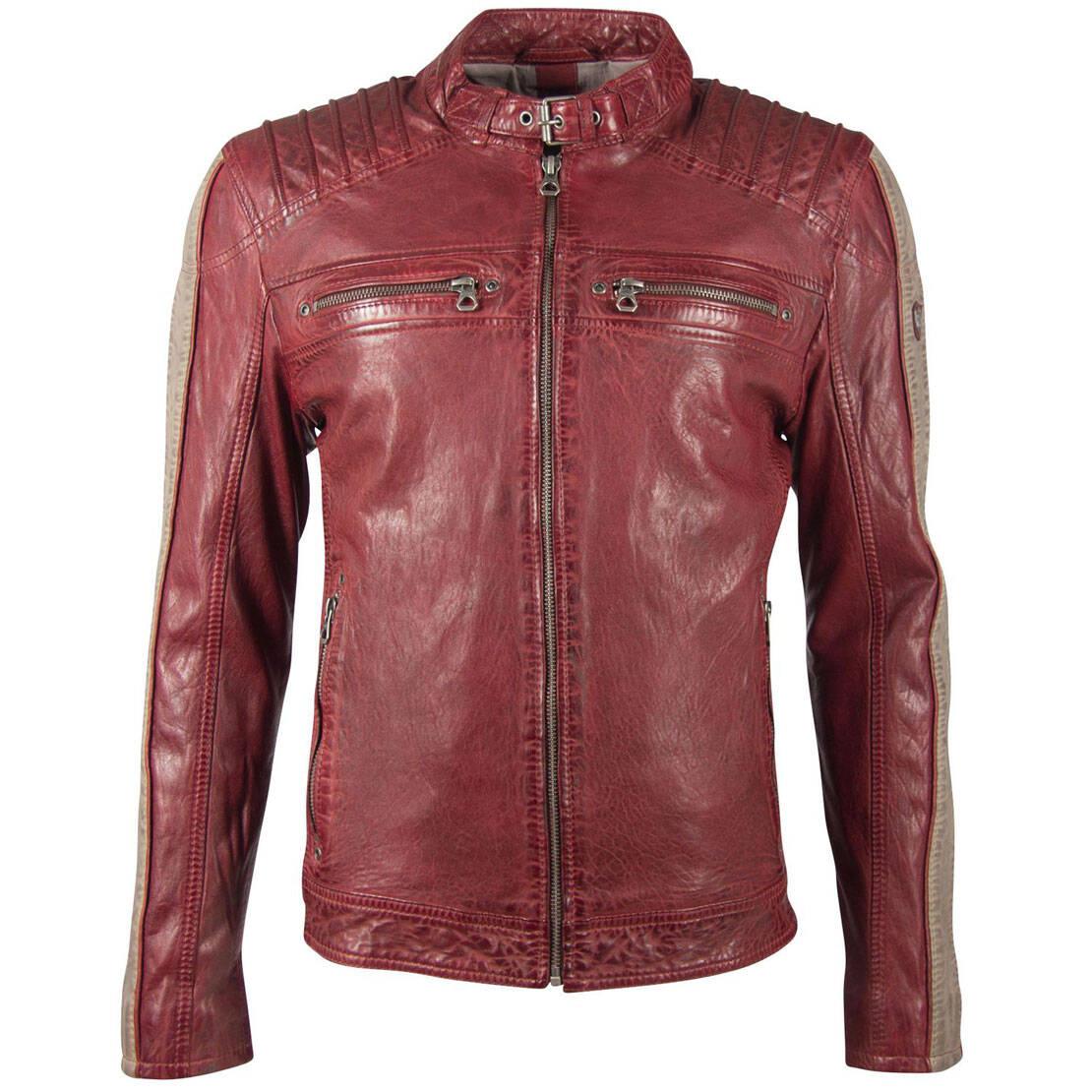 Vêtement en cuir Blousons cuir rouge, taupe