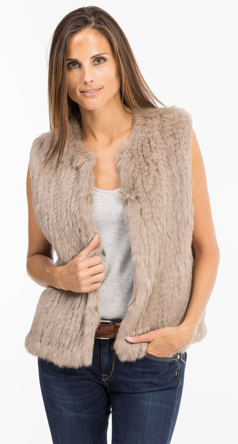 Vêtement en cuir Gilets cuir & fourrure  beige