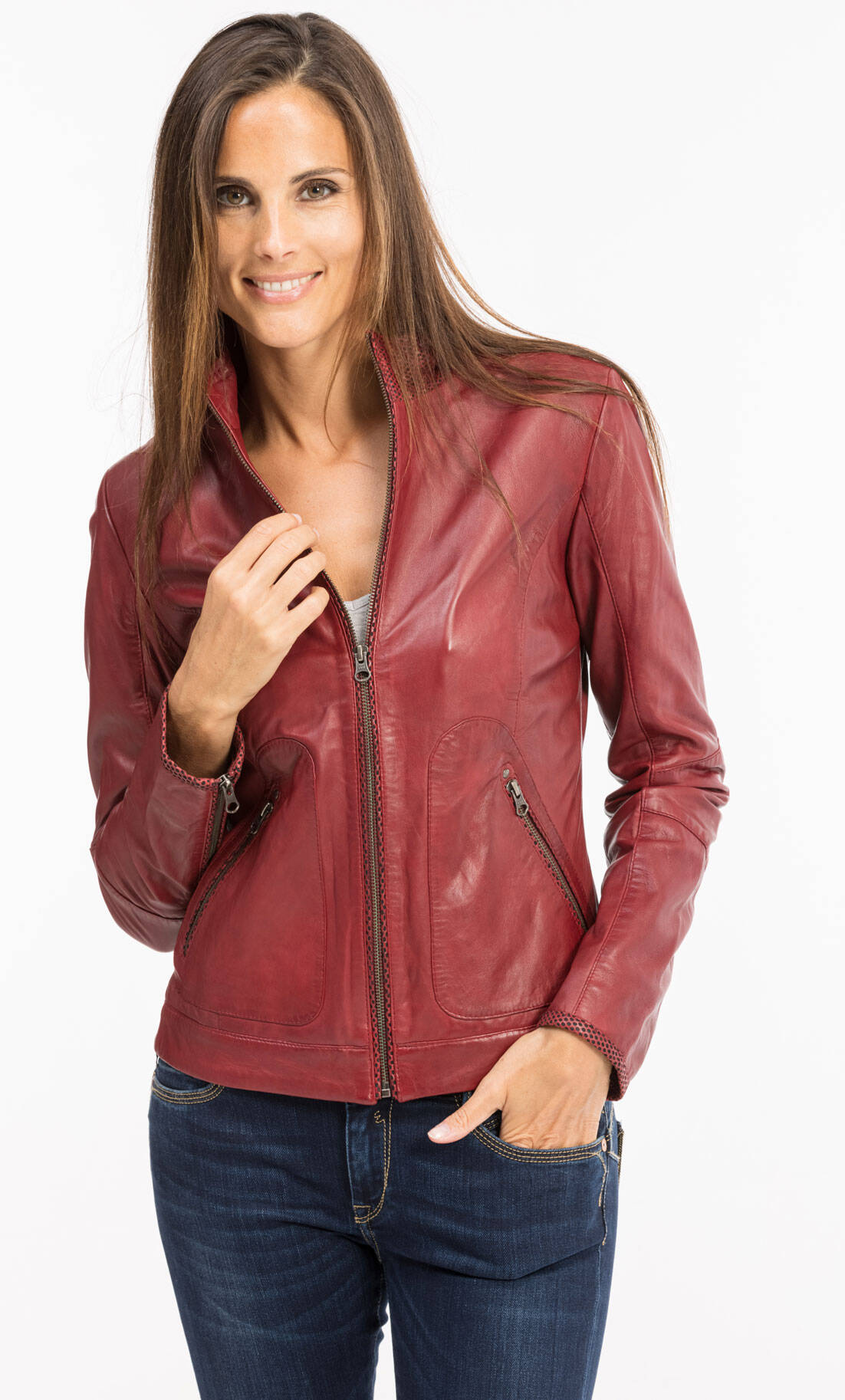Vêtement en cuir Vestes cuir rouge