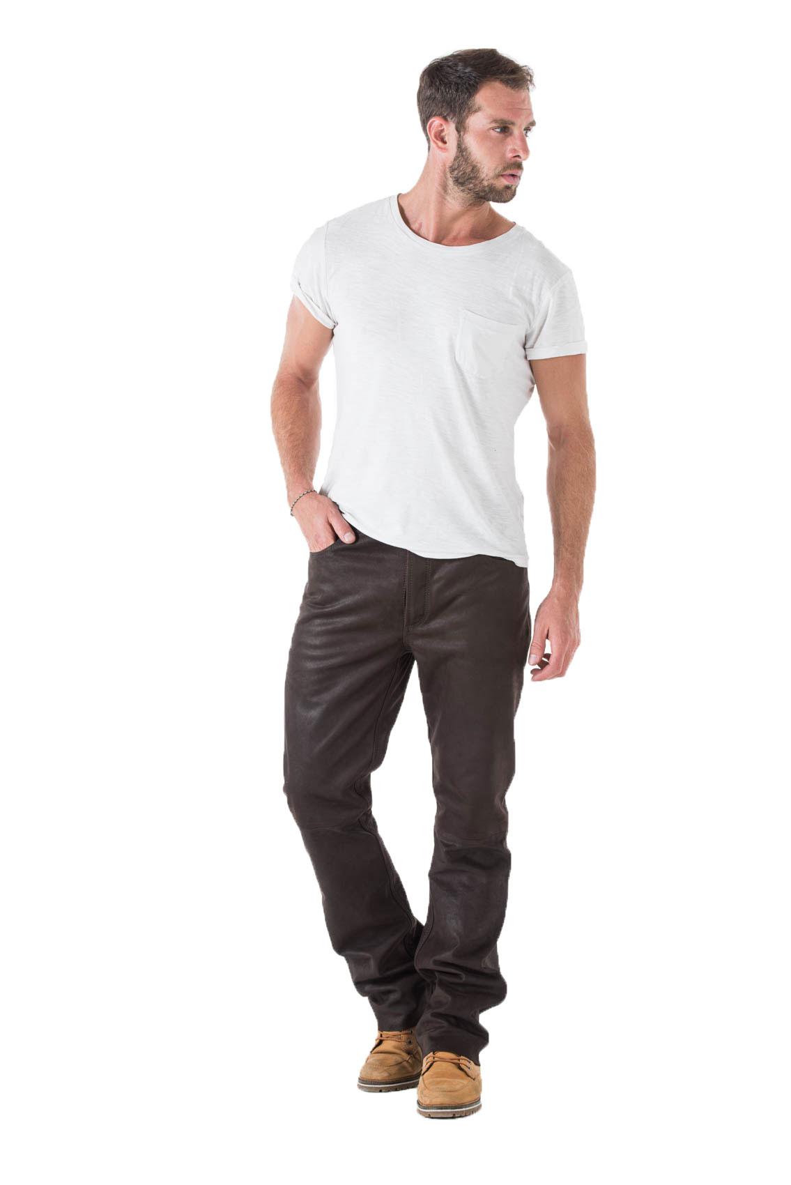 Vêtement en cuir Pantalons cuir marron