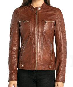 Vêtement en cuir Les bonnes affaires Femme marron, cognac