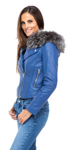 Vêtement en cuir Blousons cuir bleu