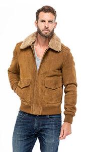 Blouson cuir homme schott 2410s aspect daim peau style pilote aviateur mannequin (1)