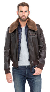 blouson cuir homme vachette marron 98 redskins style pilote (1)