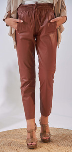 Vêtement en cuir Pantalon cuir marron