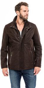 Veste cuir homme aspect nubuck 100965 bis marron demi longueur mannequin (1)