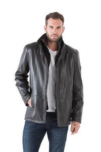 Veste cuir homme marron fonce 42526 classique élégant col chemise chaud hiver pose